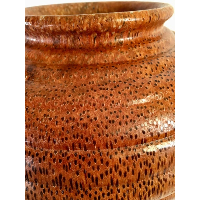 1991 Boho Chic Large Artisan Turned Bloodwood Palm Beehive Vase by John Penrod (Signed) For Sale - Image 4 of 13