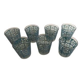 Pasinski Blue and Green Vesica Piscis Tumbler Glasses - Set of 7 For Sale