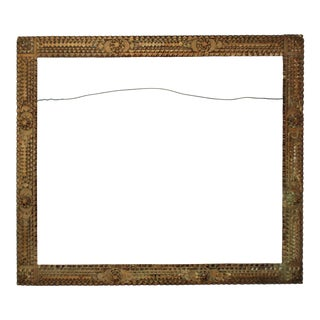 19th Century Tramp Art Carved Wood American Primitive Folk Art Picture Frame for Painting, Print, Mirror For Sale