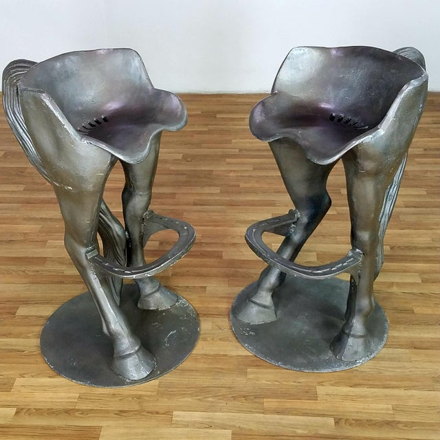 1990s Vintage Horse Bar Stools - A Pair For Sale - Image 9 of 13