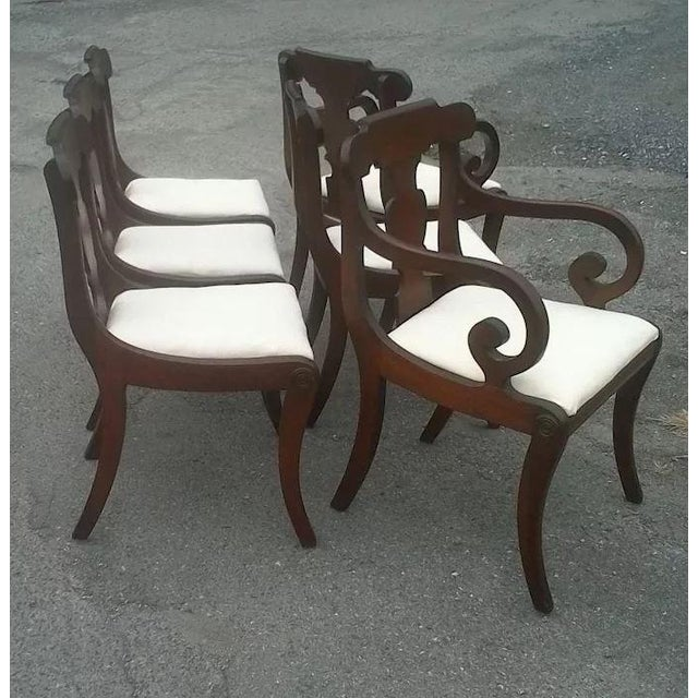Early 20th Century Regency Dining Chairs With Scrolled Arm - Set of 6 For Sale - Image 5 of 12
