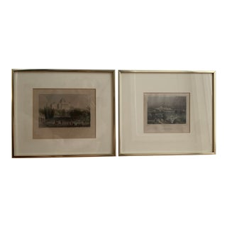 Late 19th Century Antique Historical American Baltimore and Capitol Framed Prints - A Pair For Sale