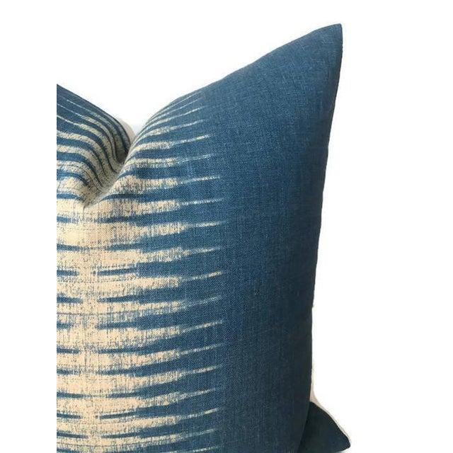 Contemporary Indigo Blue Ikat Pillow Cover For Sale - Image 3 of 4
