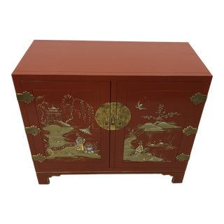 Vintage White Furniture Hand Painted Oriental Chest For Sale