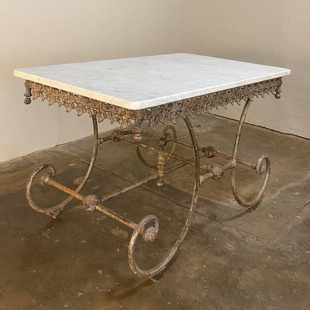 Traditional 19th Century Iron Marble Top Confectioner's Table For Sale - Image 3 of 13
