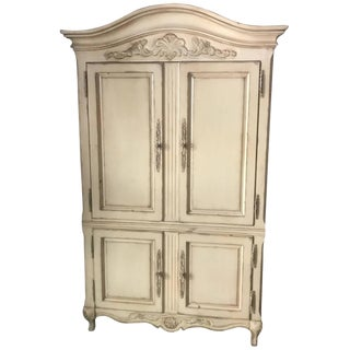 Very Impressive Romantic Cream Antiqued Armoire For Sale