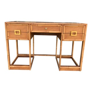 Mid-Century Vintage Bamboo Trimmed Desk For Sale