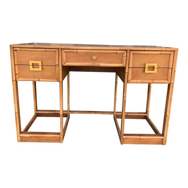Mid-Century Vintage Bamboo Trimmed Desk For Sale