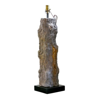 Carved Limestone Faux Bois Table Lamp For Sale