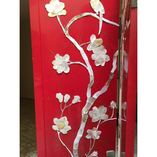 Vintage Red Lacquered Chinese Screen - Image 7 of 11