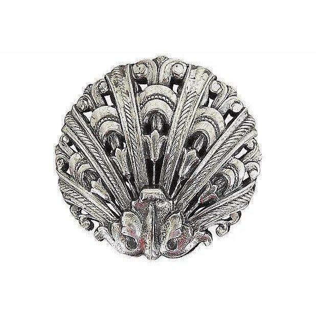 Mid-Century Modern 1950s Napier Silvertone Shell Earrings For Sale - Image 3 of 5