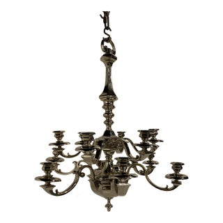1930s Silver Plated Twelve Light Chandelier For Sale