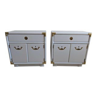 1970s Drexel Accolade Campaign Nightstands - a Pair For Sale