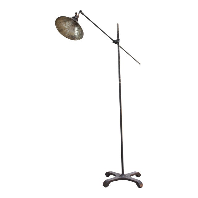 Vintage Industrial Articulating Floor Lamp by o.c. White For Sale
