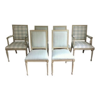 Set of 6 Louis XVI Dining Chairs in the Style of Maison Jansen- Scalamandre Upholstery For Sale