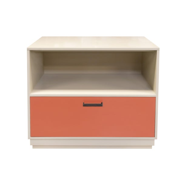 Minimalistic Maple Filing Cabinet From Garden Street in Putty and Coral For Sale - Image 6 of 6