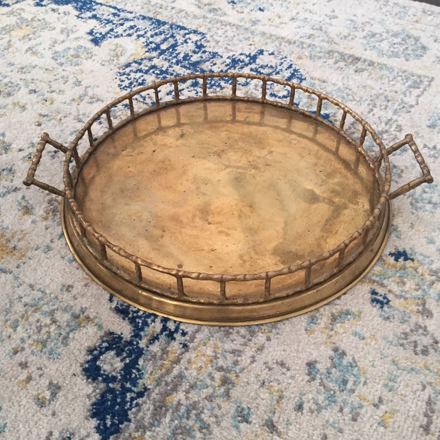 Brass Faux Bamboo Chinoiserie Tray - Image 4 of 9