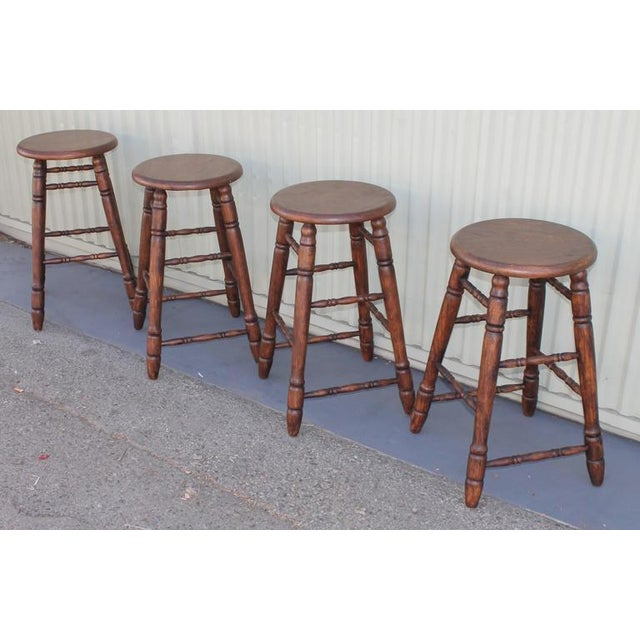 Primitive Set of Four Matching Bar Stools For Sale - Image 3 of 10