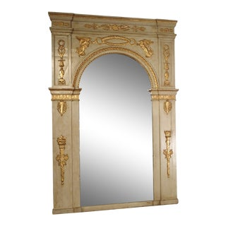 19th Century French Empire Style Trumeau Mirror in Gris Trianon For Sale
