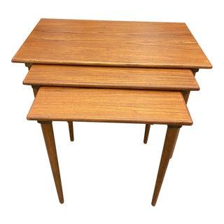 Westnofa of Norway Mid Century Modern Teak Nesting Tables - Set of 3 For Sale