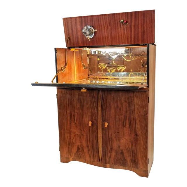 Art Deco Light Up Cocktail Cabinet in English Walnut With Patterned Glass Interior For Sale