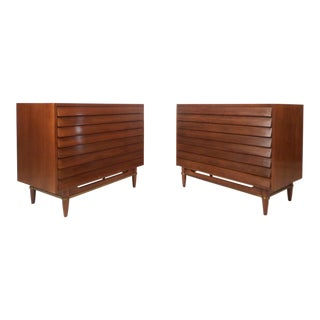 Pair of Vintage Modern Louvered Walnut Chests by American of Martinsville For Sale