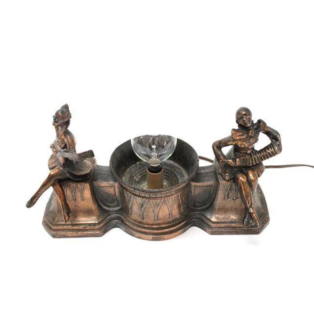 1920's Harlequin Pierrot Bronze Spelter Lamp - Image 6 of 7