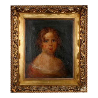 Late 19th Century Portrait of a Young Girl Oil Painting, Framed For Sale