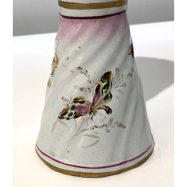 1870s St. Clement French Faience Majolica White Pink Flower Vases - a Pair For Sale In New York - Image 6 of 13