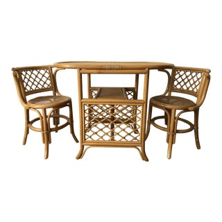 1960s Boho Chic Bamboo Bistro Table and Chair Set - 3 Pieces