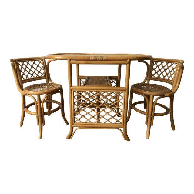 1960s Boho Chic Bamboo Bistro Table and Chair Set - 3 Pieces | Chairish