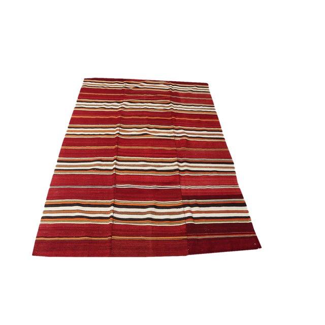 "Vintage Turkish Striped Nomadic Kilim - 5'1"" x 7'9"" - Image 1 of 3"