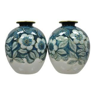 Camille Tharaud Limoges France Glazed Porcelain Teal Vases - A Pair For Sale