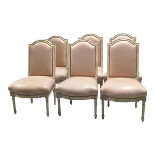 Painted French Leather Dining Chairs - Set of 6