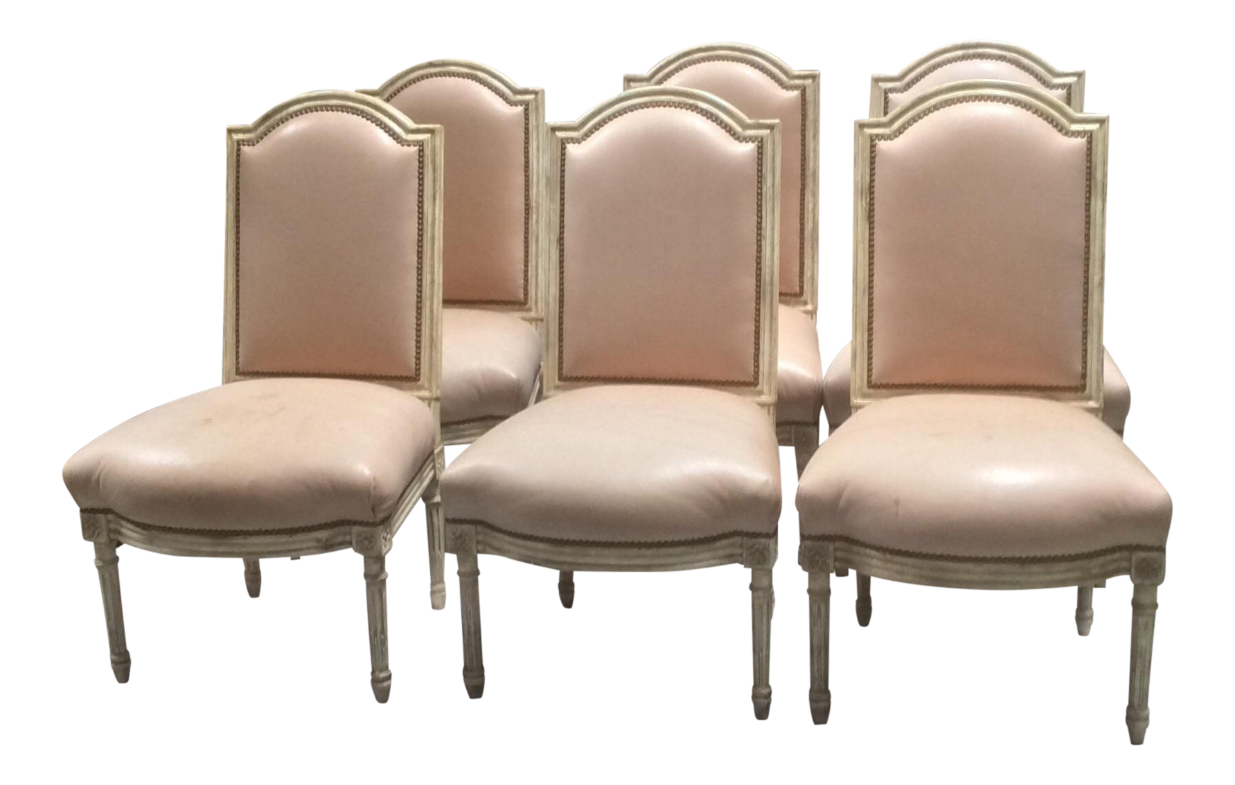 Painted French Leather Dining Chairs   Set Of 6