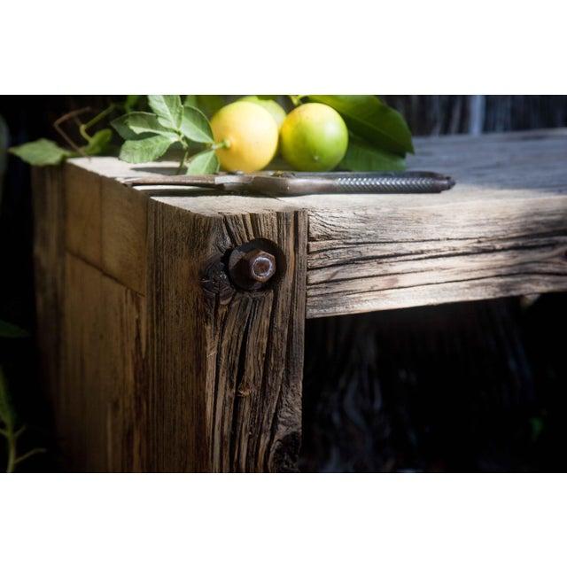 Reclaimed Wood Garden Loveseat Bench - Image 5 of 9
