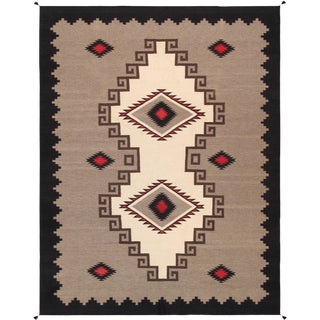 Navajo Inspired Wool Area Rug - 8′ × 9′8″ For Sale