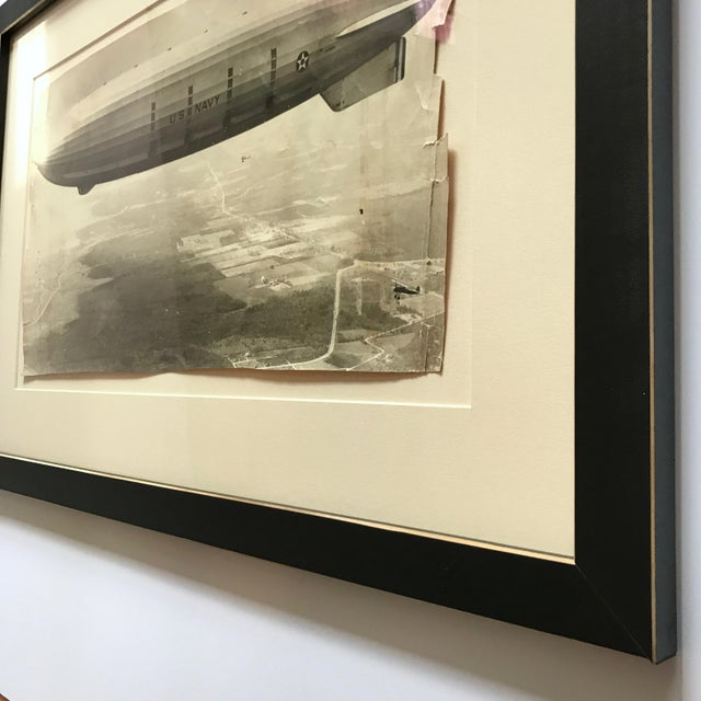 1931 Framed Vintage Navy Airship Akron Photo For Sale - Image 5 of 7