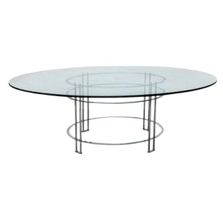 Vintage Glass Top Chromed Steel Dining Table For Sale