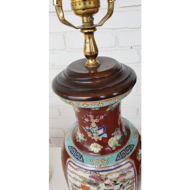 Vintage Mid Century Chinese Hand Carved Lamp For Sale - Image 9 of 11