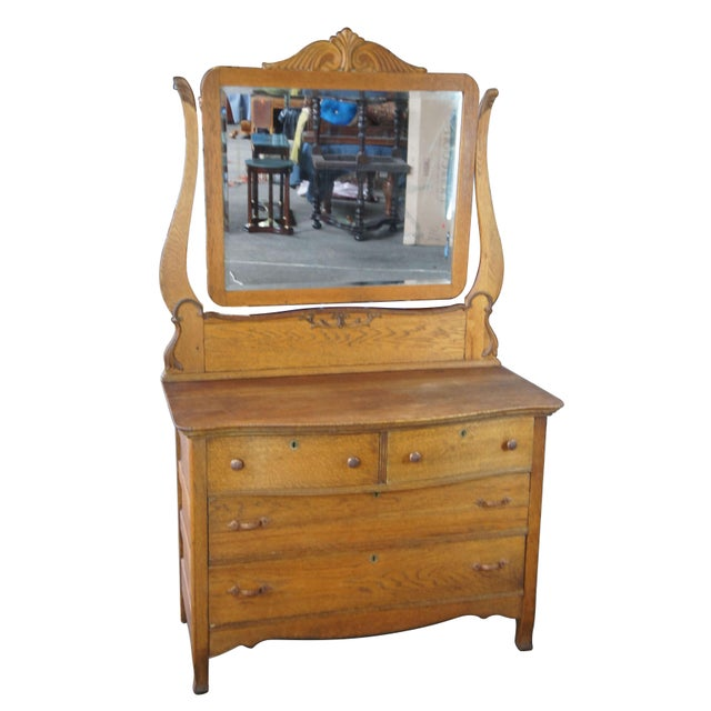 Late Victorian Antique Serpentine Oak Dresser & Carved Wishbone Mirror For Sale - Image 13 of 13