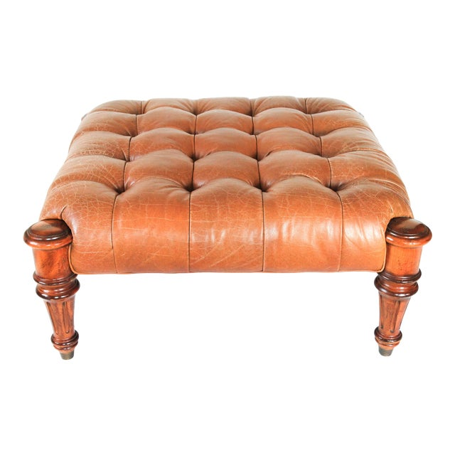 Large Leather Tufted Ottoman For Sale