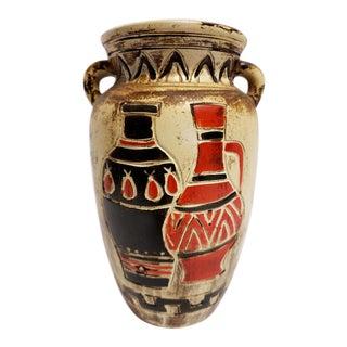 Vintage Egyptian Art Pottery Vases Motif Vase For Sale