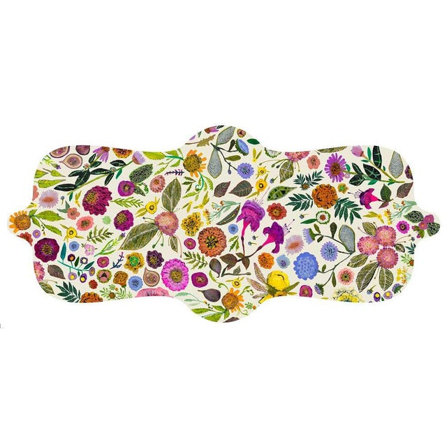 Abstract Kenneth Ludwig Chicago Wildflowers Vinyl Table Runner For Sale - Image 3 of 3