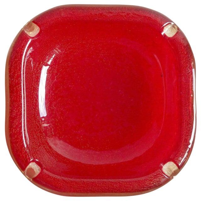 Seguso Vetri d'Arte Murano Red Gold Flecks Italian Art Glass Ashtray Bowl For Sale