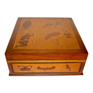 1920s Antique Marquetry Box For Sale