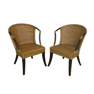 Rattan and Woven Wicker Pair Armchairs by Pier One For Sale