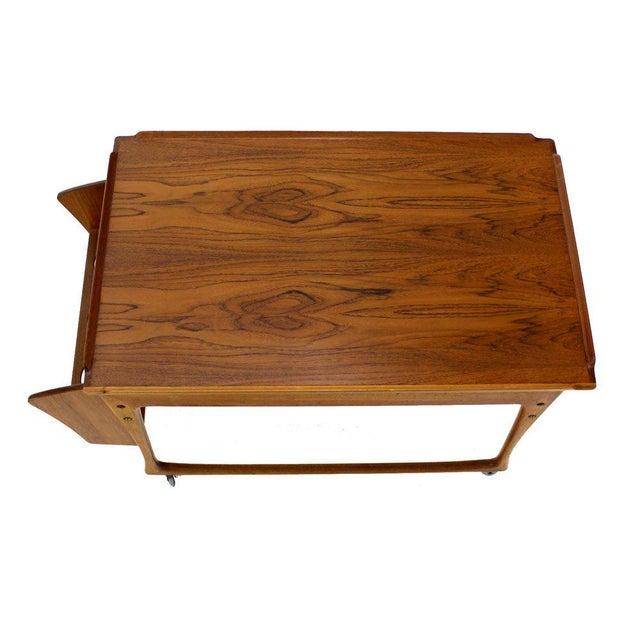 Danish Modern Danish Modern Rolling Teak Bar Cart For Sale - Image 3 of 9