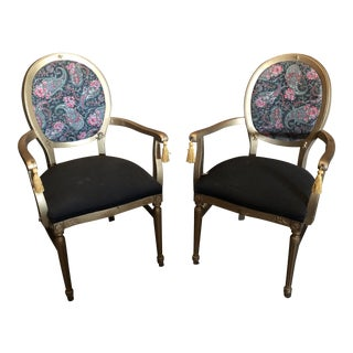 1970s Vintage Gilded Chairs - a Pair For Sale