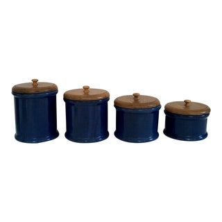 Set of 4 Blue Pottery Canisters